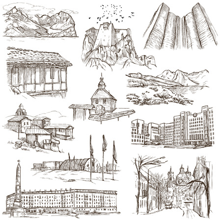 polar station: Famous places and Architecture around the World - Collection (no.15) of an full sized hand drawn illustrations. Hand drawn illustrations drawing on white background. Stock Photo