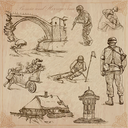 military draft: BOSNIA AND HERZEGOVINA (set no.1). Collection of an hand drawn vector illustrations. Each drawing comprise three layers of lines, the colored background is isolated.Easy editable in layers and groups.