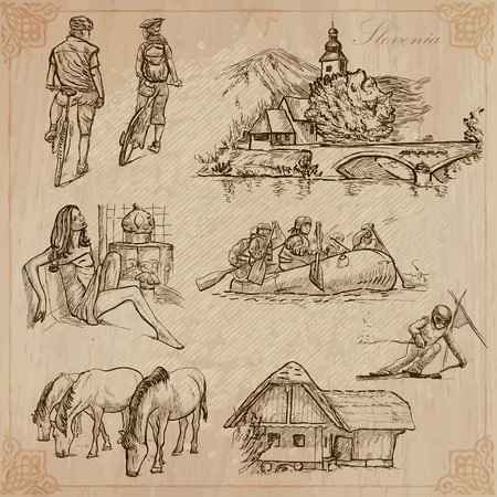 Travel: SLOVENIA - Collection of an hand drawn vector illustrations. Each drawing comprise three layers of lines, the colored background is isolated. Easy editable in layers and groups. Vector
