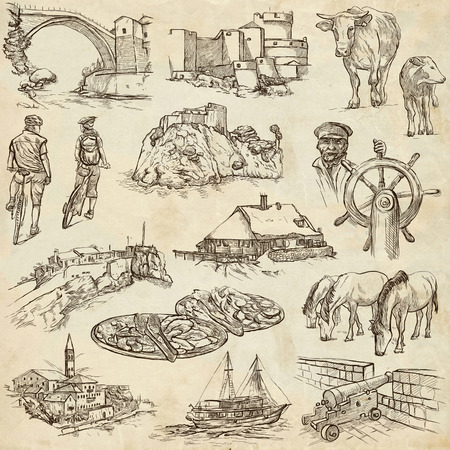 sized: Travel series: Former Republics of YUGOSLAVIA - Collection of an hand drawn illustrations (pack no.1). Description: Full sized hand drawn illustrations drawing on old paper. Stock Photo