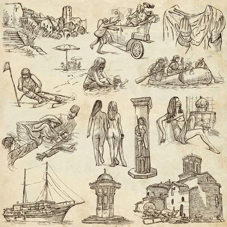 naturism: Travel series: Former Republics of YUGOSLAVIA - Collection of an hand drawn illustrations (pack no.2). Description: Full sized hand drawn illustrations drawing on old paper. Stock Photo
