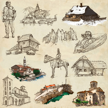 former yugoslavia: Travel series: Former Republics of YUGOSLAVIA - Collection of an hand drawn illustrations (pack no.3). Description: Full sized hand drawn illustrations drawing on old paper.