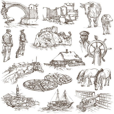 former yugoslavia: Travel series: Former Republics of YUGOSLAVIA - Collection of an hand drawn illustrations (pack no.1). Description: Full sized hand drawn illustrations drawing on white background.