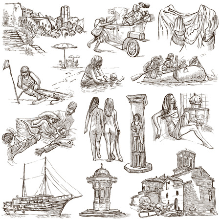 naturism: Travel series: Former Republics of YUGOSLAVIA - Collection of an hand drawn illustrations (pack no.2). Description: Full sized hand drawn illustrations drawing on white background.
