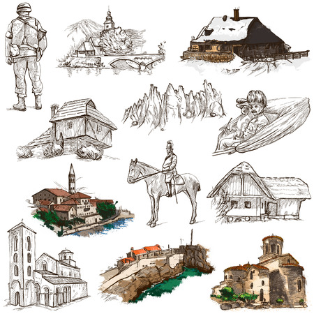 former yugoslavia: Travel series: Former Republics of YUGOSLAVIA - Collection of an hand drawn illustrations (pack no.3). Description: Full sized hand drawn illustrations drawing on white background.