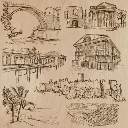 kingston: Places and ARCHITECTURE (set no.33) - Collection of an hand drawn vector illustrations. Each drawing comprise three layers of lines, the colored background is isolated. Easy editable in layers and groups.