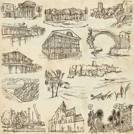 industrial heritage: Famous Places and ARCHITECTURE around the World - Collection of an hand drawn illustrations (pack no.16). Description: Full sized hand drawn illustrations drawing on old paper.