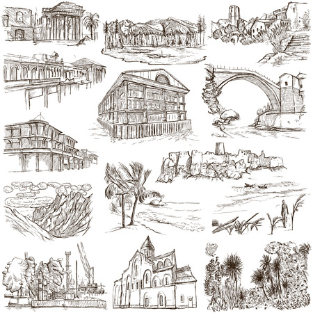 kingston: Famous Places and ARCHITECTURE around the World - Collection of an hand drawn illustrations (pack no.16). Description: Full sized hand drawn illustrations drawing on white.