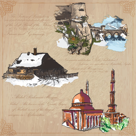 Places and ARCHITECTURE (set no.35) - Collection of an hand drawn vector colored illustrations. Each drawing comprise three layers of lines, background is isolated. Easy editable in layers and groups.