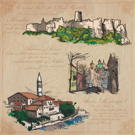 Places and ARCHITECTURE (set no.38) - Collection of an hand drawn vector colored illustrations. Each drawing comprise three layers of lines, background is isolated. Easy editable in layers and groups. Illustration