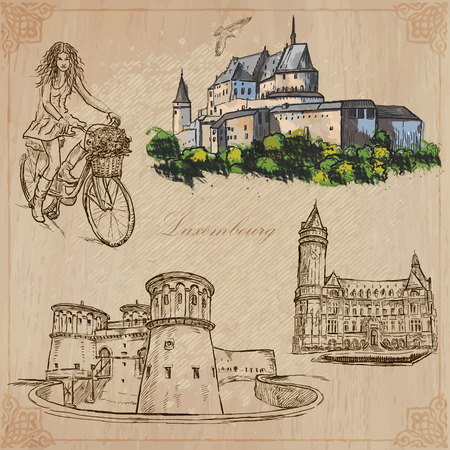 Travel: LUXEMBOURG (set no.2) - Collection of an hand drawn vector illustrations. Each drawing comprise three layers of lines, the colored background is isolated. Easy editable in layers and groups.