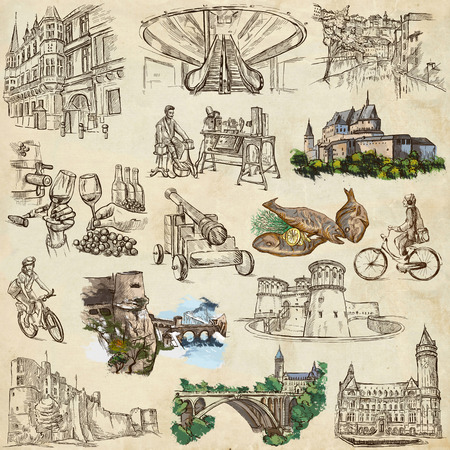 Travel series: LUXEMBOURG (pack no.2) - Collection of an hand drawn illustrations. Description: Full sized hand drawn illustrations drawing on white background.