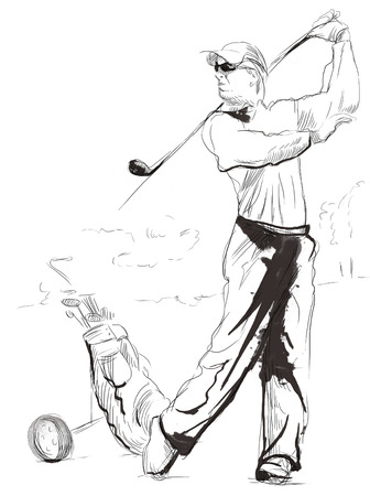 sized: Topic: GOLF (Finishing position). An hand drawn and painted full sized illustration (Original).