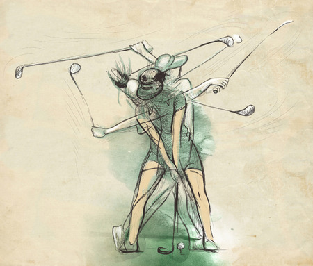 approach: Topic: GOLF (Complex motion). An hand drawn and painted full sized illustration (Original).