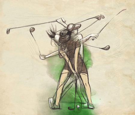 Topic: GOLF (Complex motion). An hand drawn and painted full sized illustration (Original).