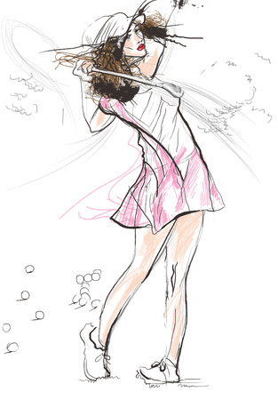 chit: Topic: GOLF (Finishing position. Young woman looks directly into the camera). An hand drawn and painted full sized illustration (Original). Stock Photo