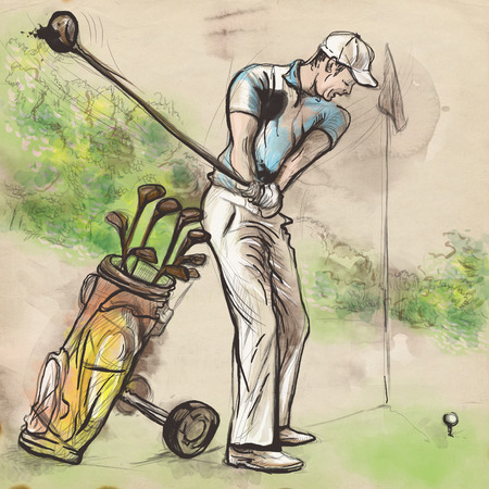 locomotion: Topic: GOLF (Posture, Golf swing). An hand drawn and painted full sized illustration (Original).