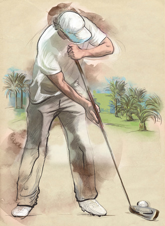 chit: Topic: GOLF (Finishing hole, 18th hole). An hand drawn and painted full sized illustration (Original).