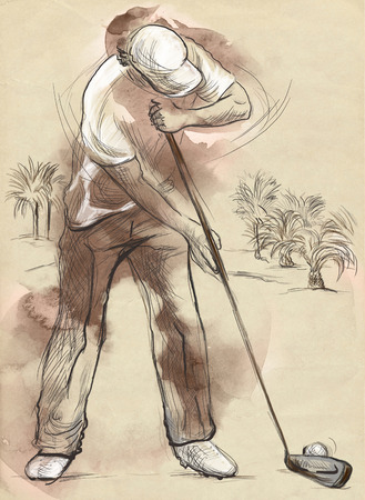 sized: Topic: GOLF (Finishing hole, 18th hole). An hand drawn and painted full sized illustration (Original).