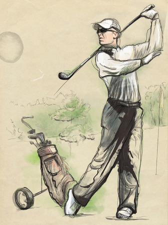 golf swing: Topic: GOLF (Finishing position). An hand drawn and painted full sized illustration (Original).