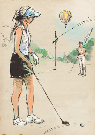 Topic: GOLF (Concentration). An hand drawn and painted full sized illustration (Original). Stock Photo