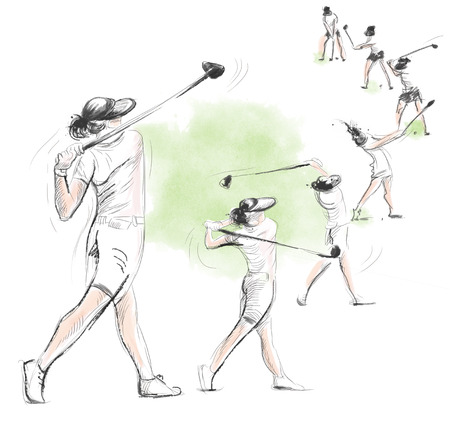 locomotion: Topic: GOLF (Complex motion). An hand drawn and painted full sized illustration (Original).