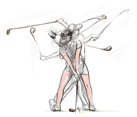 sized: Topic: GOLF (Complex motion). An hand drawn and painted full sized illustration (Original).