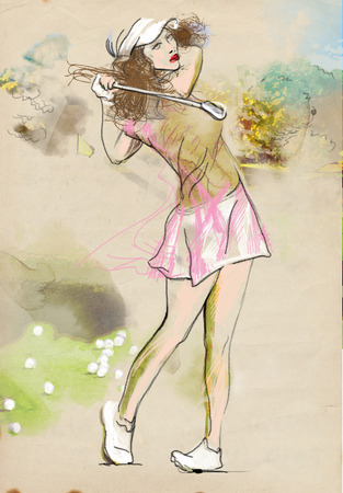 locomotion: Topic: GOLF (Finishing position. Young woman looks directly into the camera). An hand drawn and painted full sized illustration (Original). Stock Photo