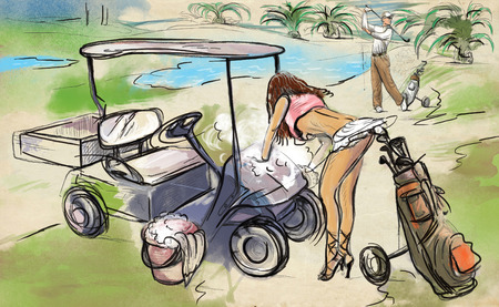 funny pictures: Topic: GOLF (Sexy woman washes golf cart on the golf course. Just for fun picture). An hand drawn and painted full sized illustration (Original).