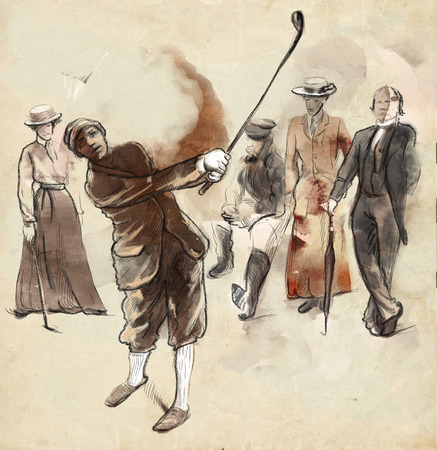 Topic: GOLF (Vintage man). An hand drawn and painted full sized illustration (Original). Standard-Bild