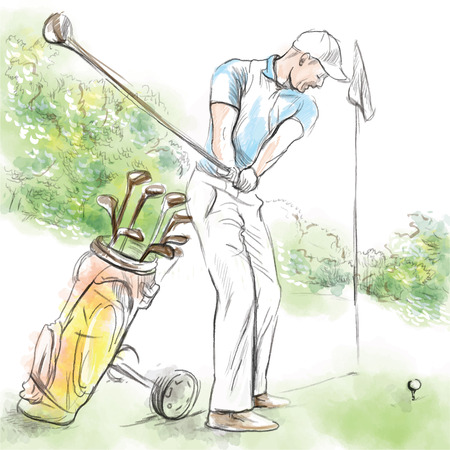 course: Topic: GOLF (Posture, Golf swing). An hand drawn illustration converted into vector. Vector is easy editable in layers and groups.