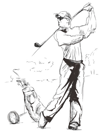classical arts: Topic: GOLF (Finishng position). An hand drawn illustration converted into vector. Vector is easy editable in layers and groups. Illustration
