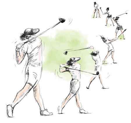 Topic: GOLF (movimento complesso, Swing). Un'illustrazione disegnata a mano convertito in vettoriale. Vector è facilmente modificabile in livelli e gruppi. Archivio Fotografico - 35533895