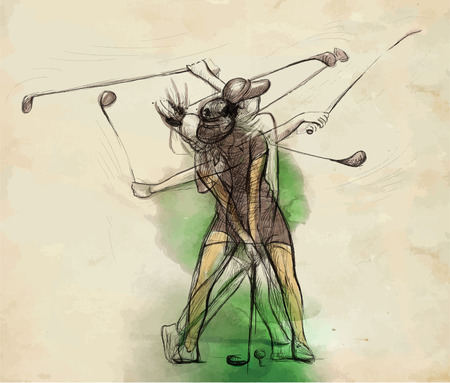 converted: Topic: GOLF (Complex matrix motion, Golf swing). An hand drawn illustration converted into vector. Vector is easy editable in layers and groups.