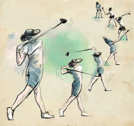 Topic: GOLF (Complex motion, Golf swing). An hand drawn illustration converted into vector. Vector is easy editable in layers and groups. Иллюстрация