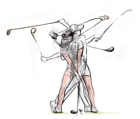 """주제 : GOLF (단지 """"매트릭스""""모션, 골프 스윙). 손으로 그린 그림 벡터로 변환. 벡터 레이어 및 그룹에 쉽게 편집 할 수 있습니다."""