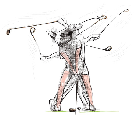 Topic: GOLF (Complex matrix motion, Golf swing). An hand drawn illustration converted into vector. Vector is easy editable in layers and groups.