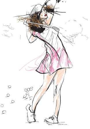 Topic: GOLF (Finishng position, young woman). An hand drawn illustration converted into vector. Vector is easy editable in layers and groups.