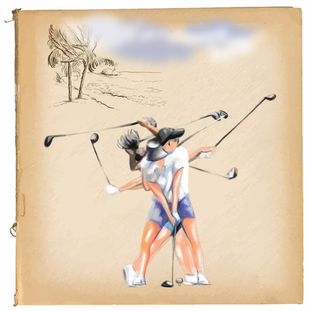 chit: Topic: GOLF (Complex \\\Matrix\\\ motion). An hand painted (Digital painting) converted vector illustration.