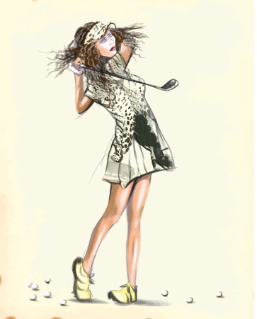 converted: Topic: GOLF (Finishing position. Young woman looks directly into the camera). An hand painted (Digital painting) converted vector illustration. Illustration