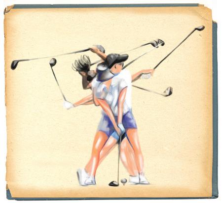 locomotion: Topic: GOLF (Complex \\\Matrix\\\ motion). An hand painted (Digital painting) full sized illustration (Original). Stock Photo