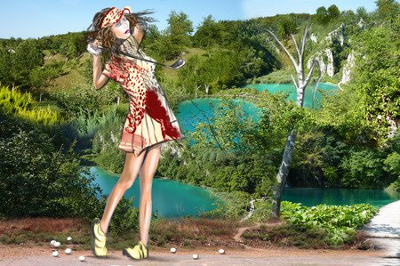 locomotion: Topic: GOLF (Finishing position. Young beautiful woman in front of an landscape full of blue lakes ). Mixed media plus hand drawn and painted full sized illustration.