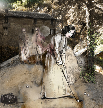 mixed media: Topic: GOLF (Vintage woman in front of an audience before old village house). Mixed media plus hand drawn and painted full sized illustrations. Stock Photo