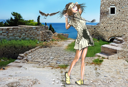 locomotion: Topic: GOLF (Finishing position. Young beautiful woman in front of an ancient ruins and blue sea ). Mixed media plus hand drawn and painted full sized illustration. Stock Photo