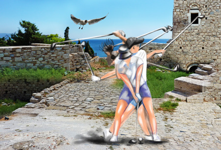 hits: Topic: GOLF (Complex motion. Young woman hits golf ball in front of an ancient ruins). Mixed media plus hand drawn and painted full sized illustration.