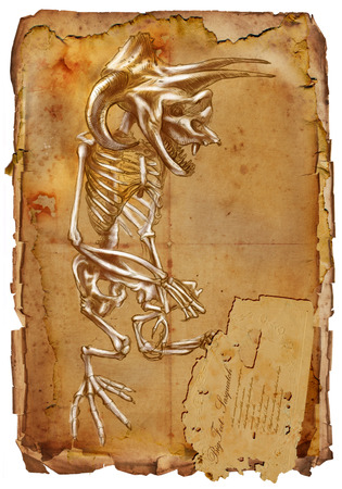 bestiary: Illustration of a series of legendary animals and monsters (skeleton): BIGFOOT. An hand drawn and painted full sized illustration (Original). Version: Drawing on old vintage paper with text. Background: slightly blurry, Lines: sharp.
