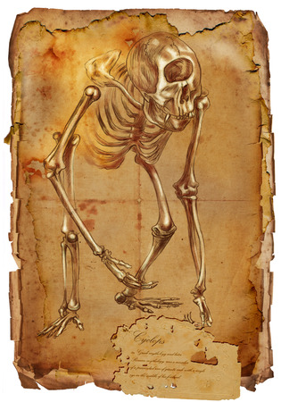 bestiary: Illustration of a series of legendary animals and monsters (skeleton): CYCLOPS. An hand drawn and painted full sized illustration (Original). Version: Drawng on old vintage paper with text. Background: slightly blurry, Lines: sharp.