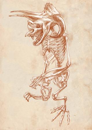 esot�risme: Illustration d'une s�rie d'animaux l�gendaires et les monstres (squelette): BIGFOOT. Une main dessin� et peint illustration pleine taille (Original). Version: dessin sur le vieux papier.