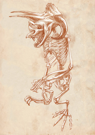 bestiary: Illustration of a series of legendary animals and monsters (skeleton): BIGFOOT. An hand drawn and painted full sized illustration (Original). Version: drawing on old paper.