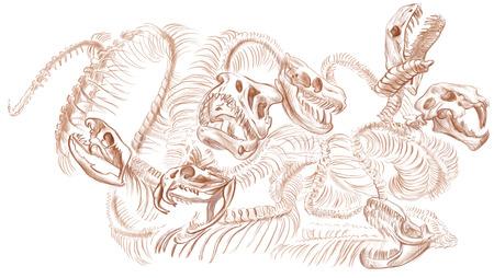 esoterismo: Ilustraci�n de una serie de animales y monstruos legendarios (esqueleto): Hidra de Lerna .An mano dibujado y pintado ilustraci�n de tama�o completo (Original). Versi�n: Dibujo sobre fondo blanco.